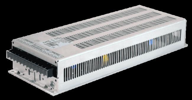 72V naar 48V DC/DC converter 10A, 120W galvanische scheiding, aanzicht rechtsvoor