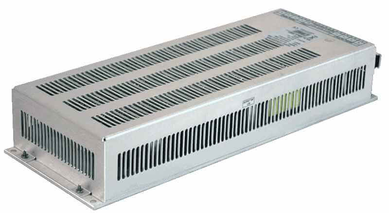 72V to 48V DC/DC converter 10A, 120W galvanic isolation, aanzicht achterkant