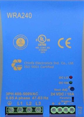WRA240 3 fase power supply 240W 24V 48V top
