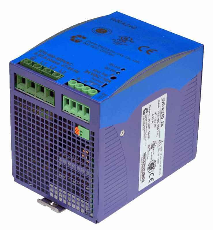 48V DC/DC converter 180W, 3,75A, DIN-rail, type WRA480 aansluitingen