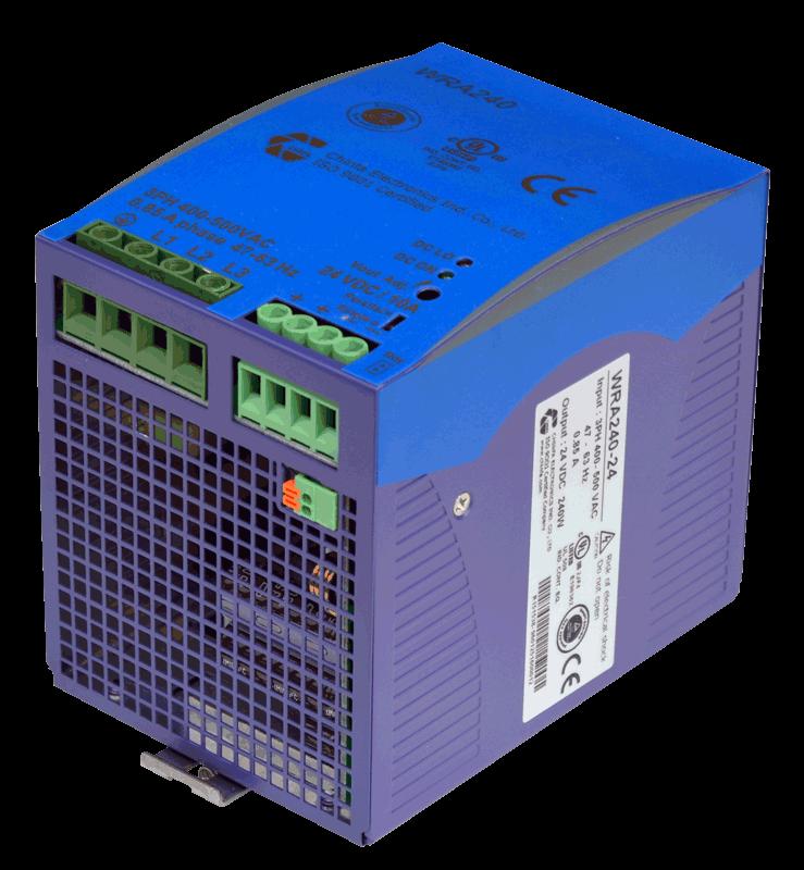 24V voeding 240W, 10A, 3 fase, DIN-rail, type WRA480 aansluitingen