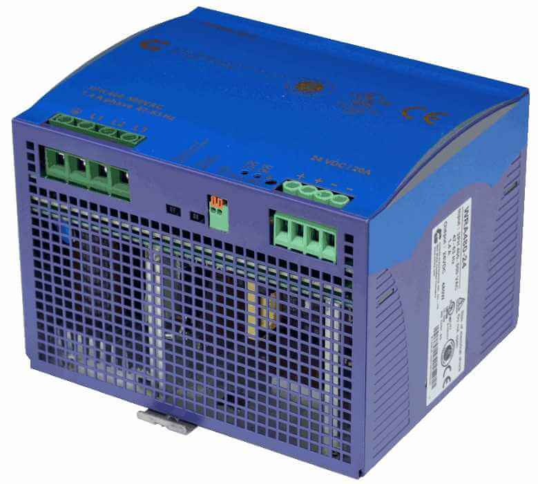 48V DC/DC converter 360W, 7,5A, aanzicht rechtsvoor