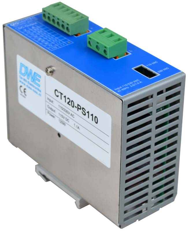 12V stabilized DIN-rail power supply, 120W, front left view