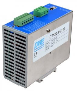 110V stabilized DIN-rail power supply, 120W, front right view
