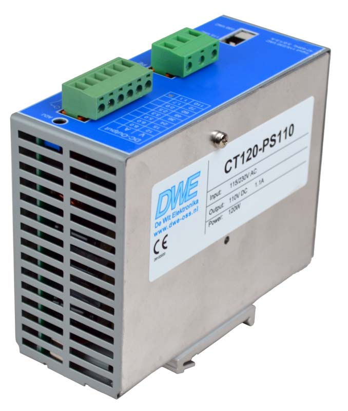 12V stabilized DIN-rail power supply, 120W, front right view
