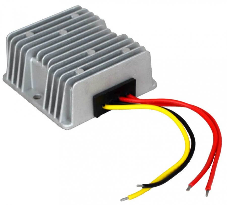 12V naar 24V AC/DC converter waterdicht, 120W, 5A. Voorzijde