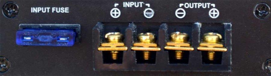 72V naar 12V DC/DC converter 240W, 20A, aanzicht voorzijde