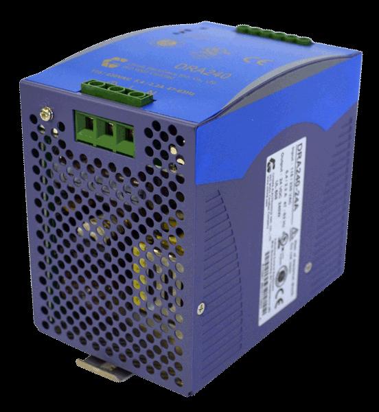 24V DC/DC converter 240W, 10A, aanzicht rechtsvoor