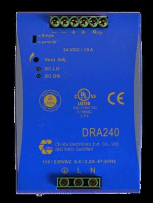 240W gestabiliseerde voeding geschakeld DRA240 12V 24V 48V DC top