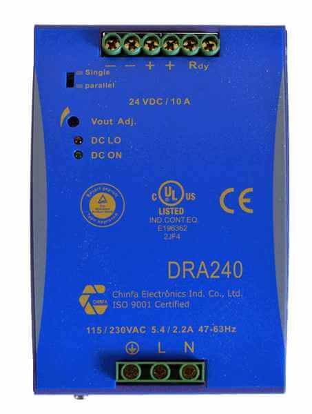 voeding 230V naar 48V, 5A, DIN-rail, bovenaanzicht, type DRA240