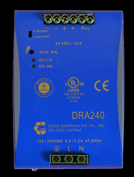 voeding 230V naar 24V, 12,5A, DIN-rail, bovenaanzicht, type DRA240