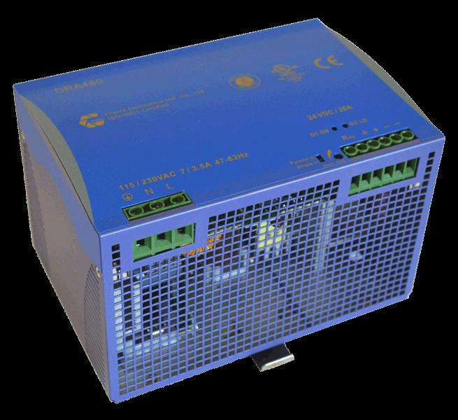 24V voeding 480W, 20A, DIN-rail, type DRA480