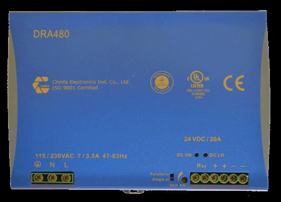 480W gestabiliseerde voeding geschakeld DRA480 24V 48V DC top