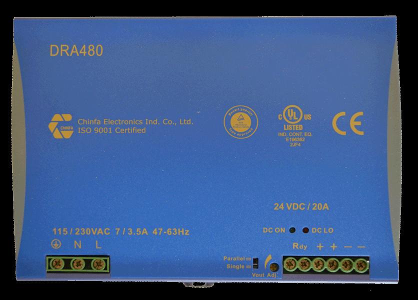 DC/DC converter 160V naar 48V, 10A, DIN-rail, bovenaanzicht, type DRA480