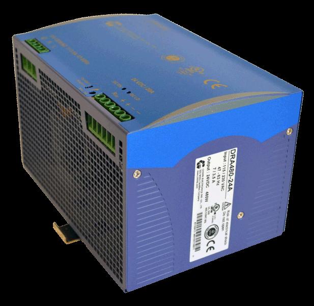 24V DC/DC converter 480W, 20A, aanzicht rechtsvoor