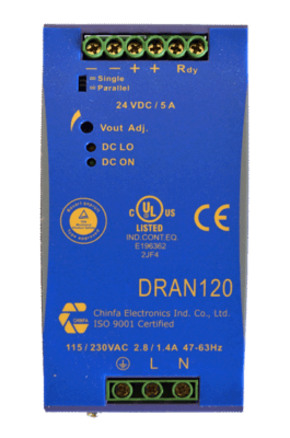 120W gestabiliseerde voeding geschakeld DRAN120 12V 24V 48V DC top