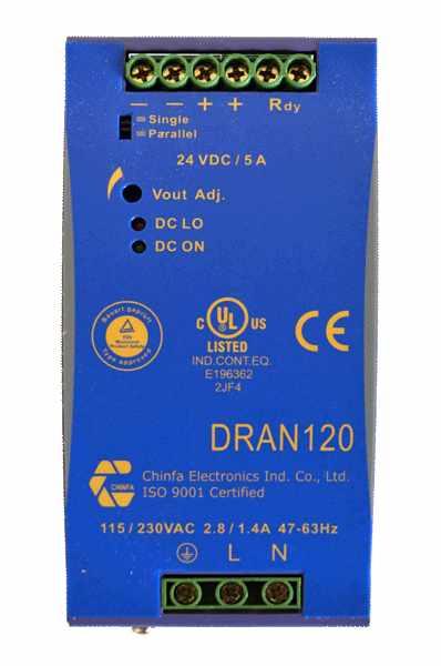 DC/DC converter 360V naar 48V, 2,5A, DIN-rail, bovenaanzicht, type DRAN120