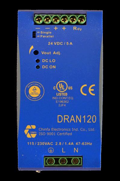 DC/DC converter 220V naar 48V, 2,5A, DIN-rail, bovenaanzicht, type DRAN120