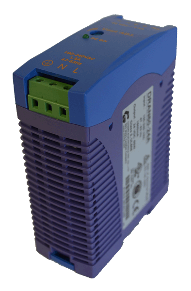 24V DC/DC converter 60W, 2,5A, aanzicht rechtsvoor