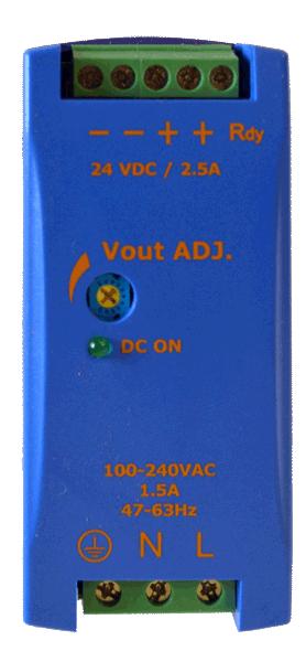 DC/DC converter 110V naar 12V, 5A, DIN-rail, bovenaanzicht, type DRAN60