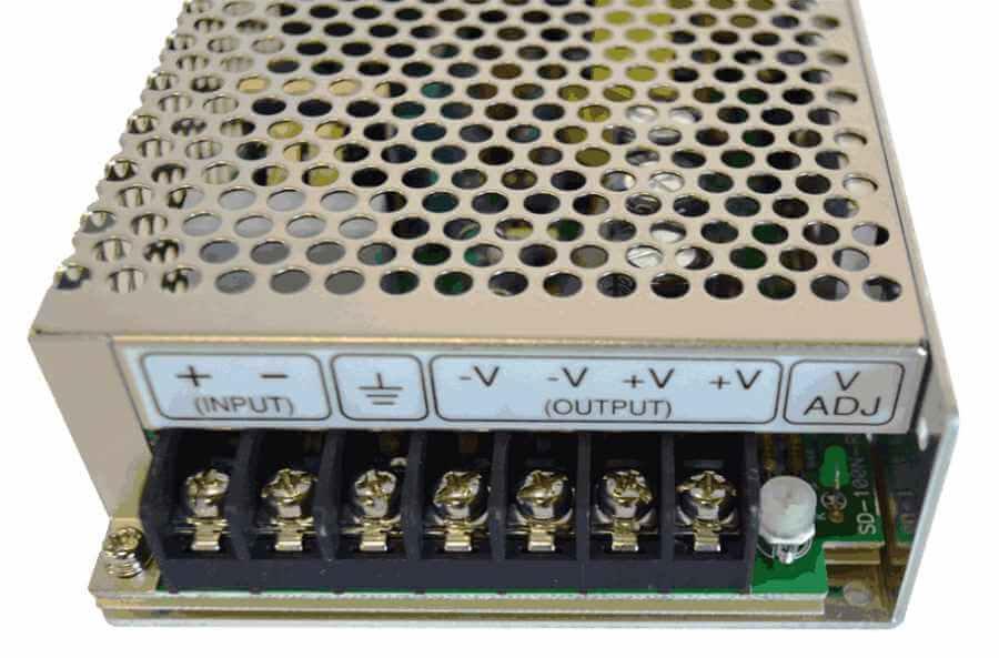 60V naar 5V DC/DC converter 100W galvanische scheiding, aansluitingen