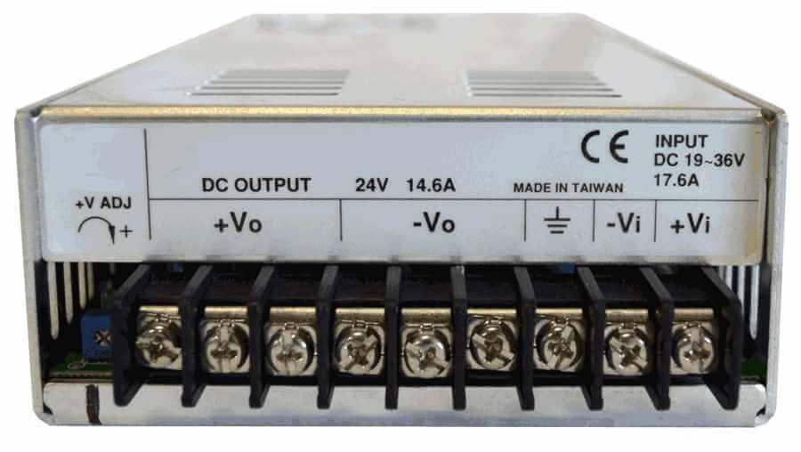 36V naar 24V DC/DC converter 480W galvanische scheiding, aansluitingen