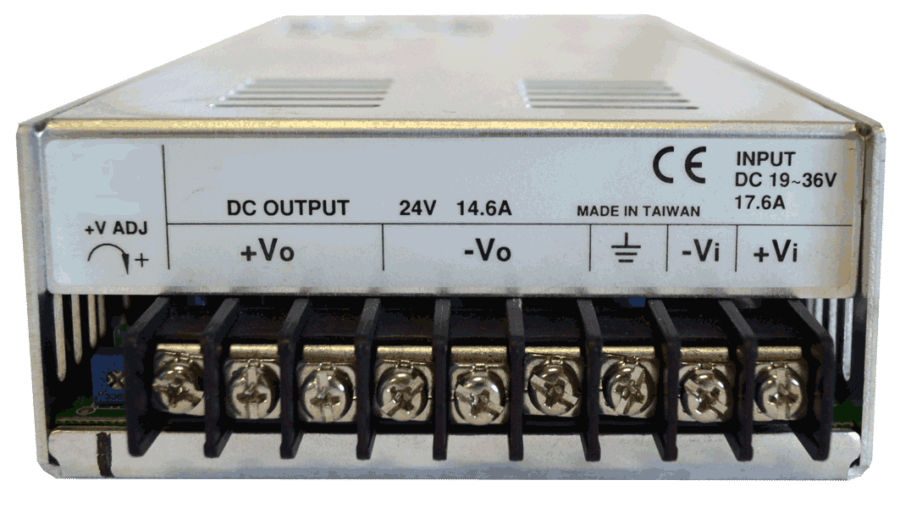 24V naar 48V DC/DC converter 350W galvanische scheiding, aansluitingen