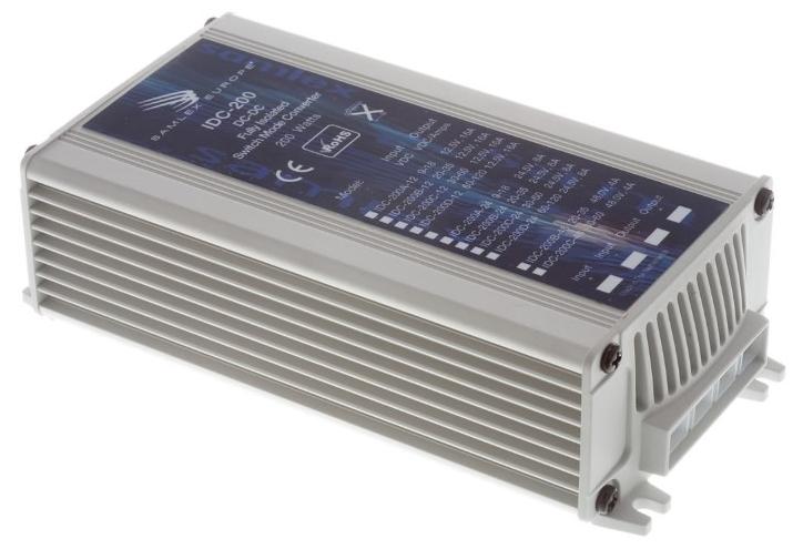 IDC-200 110V auf 12,5V DC/DC-Wandler 15A, 200W Galvanische Trennung, Frontansicht links