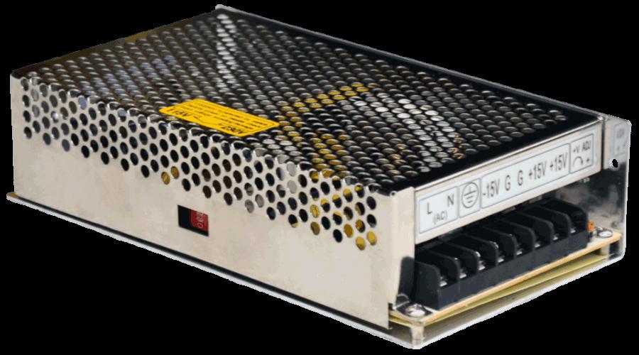 12V en 24V gestabiliseerde voeding dual output, linksvoor