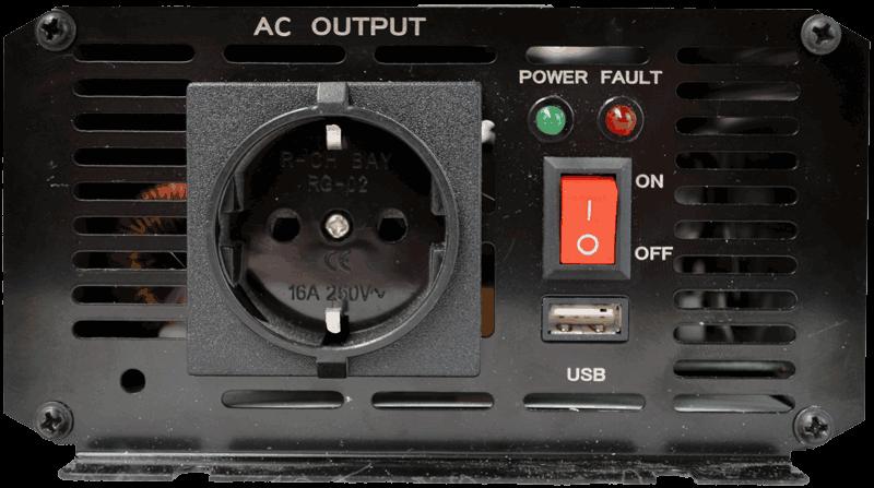omvormer 48V naar 230V zuivere sinus 300W , aansluitingen