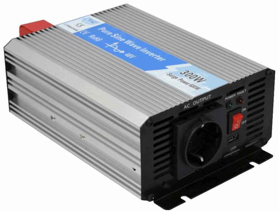 omvormer 48V naar 230V zuivere sinus 300W , voorzijde links
