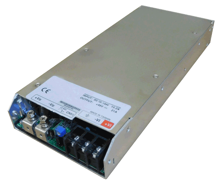 DC/DC converter 36V naar 48V 1000W, 21A, geisoleerd, aanzicht linksvoor