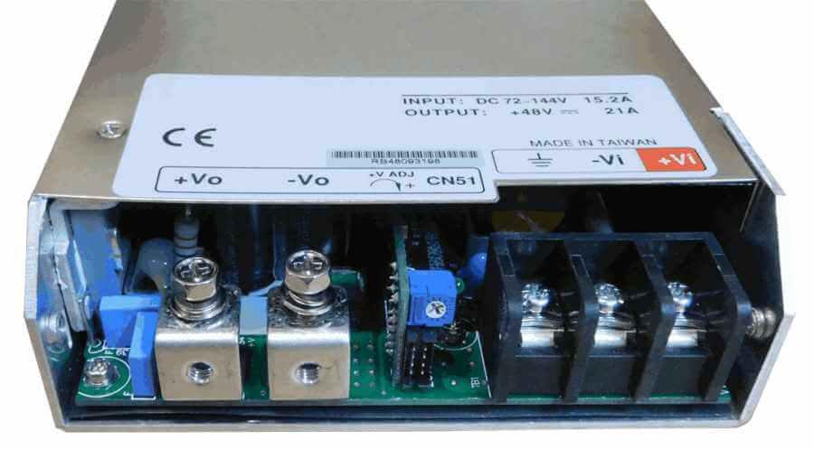 60V naar 12V DC/DC converter 1000W geisoleerd, aansluitingen voorzijde