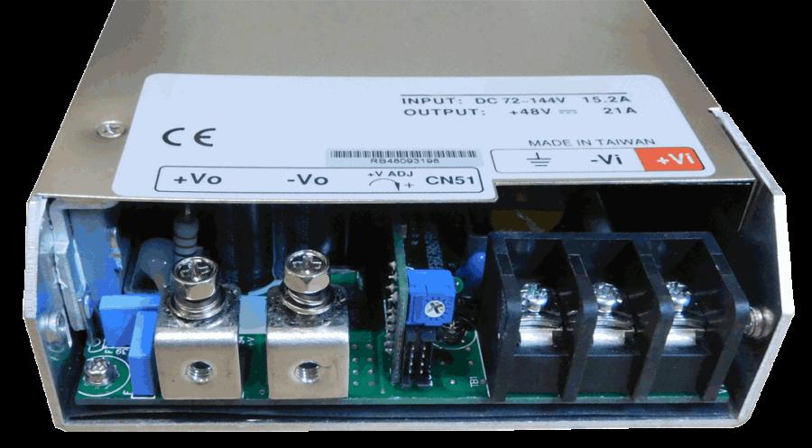 36V naar 48V DC/DC converter 1000W geisoleerd, aansluitingen voorzijde