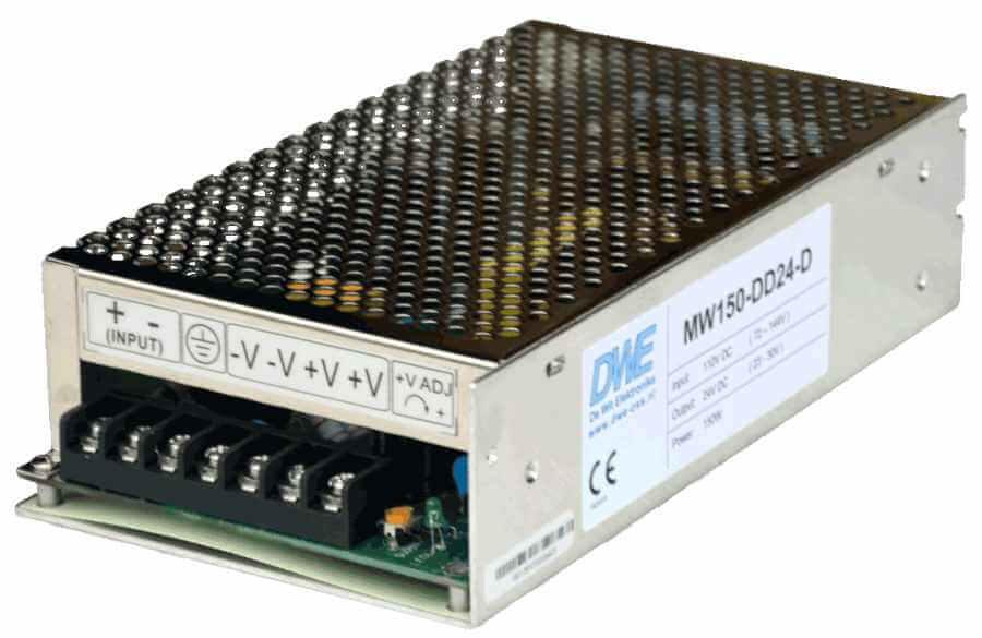 110V naar 24V DC/DC converter 150w aanzicht linksvoor