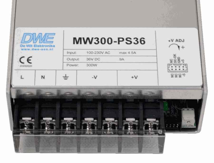 24V voeding gestabiliseerd 300W aansluitingen