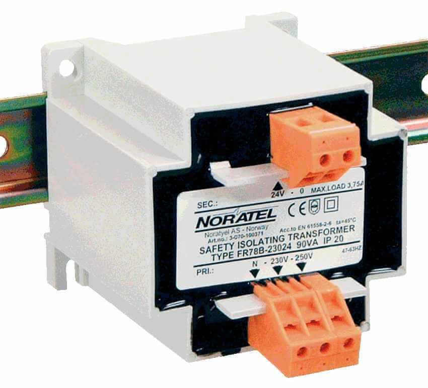 230V naar 12V DIN-rail transformator 90VA geisoleerd bovenzijde