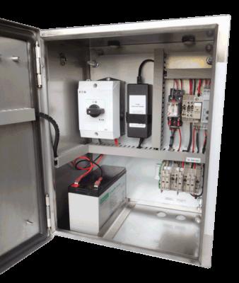 noodverlichting 12V 25W rvs kast binnenkant